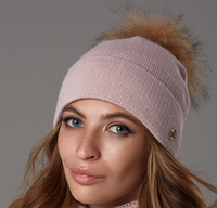 Шапка женская пудра, шапка жіноча