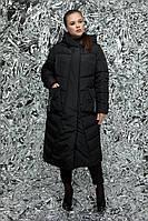 Женская удлиненная модель пуховика- одеяло М-782 / размер 50,52,54,56,58 / цвет черный