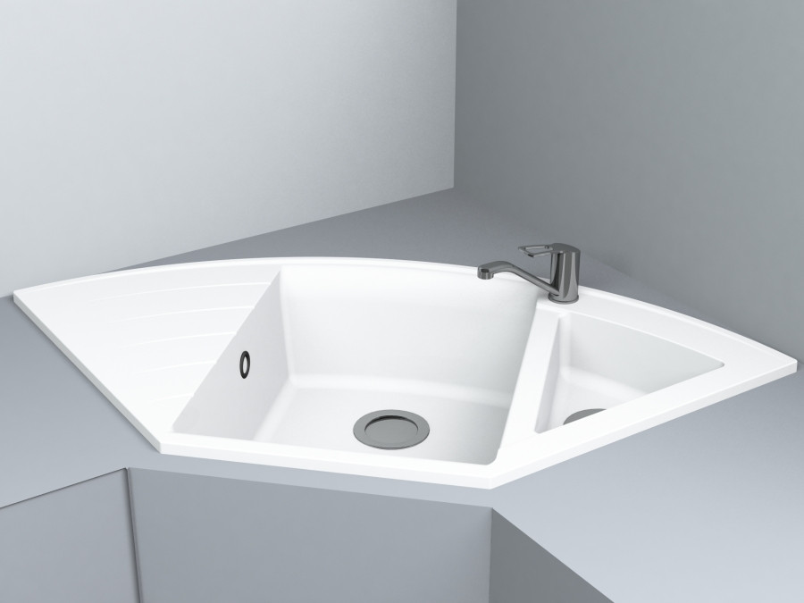 Кухонная мойка угловая из кварца 1100*575*215 мм Miraggio Europe белый