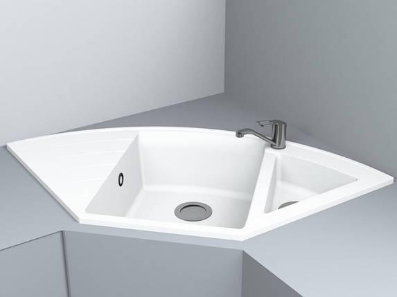 Кухонная мойка угловая из кварца 1100*575*215 мм Miraggio Europe белый, фото 2