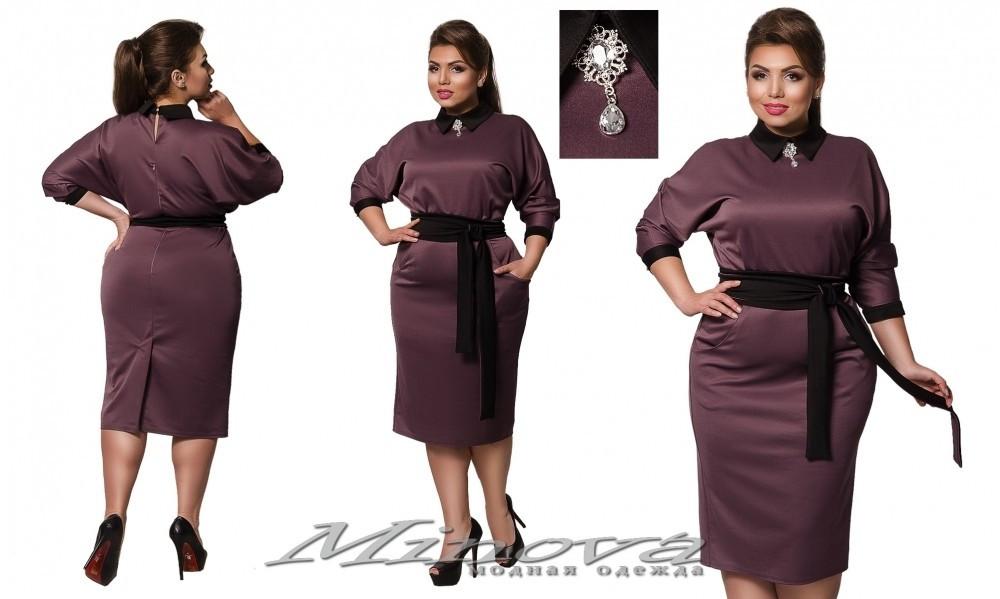 """Изумительное женское платье с отложенным воротничком и украшением, ткань """"Дайвинг"""" 50, 52, 54 размер батал"""