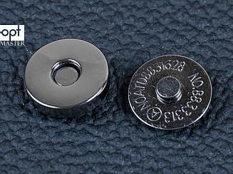 Магнит наружный для сумки 65-101-14, круглый d14 мм, цв. темный никель