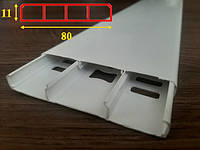 Дверной наличник глянцевый с кабель-каналом шириной 80 мм Белый 2,2 м
