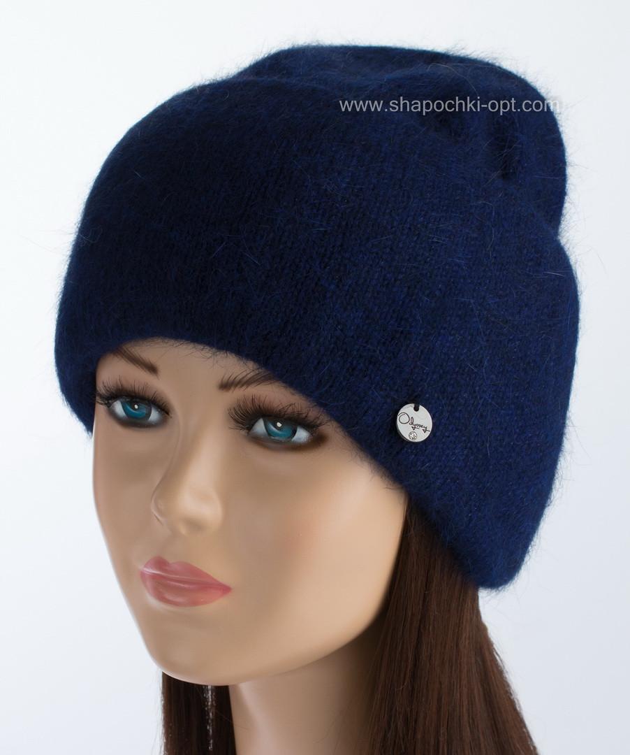 Вязаная женская шапочка Vanila цвет сапфир