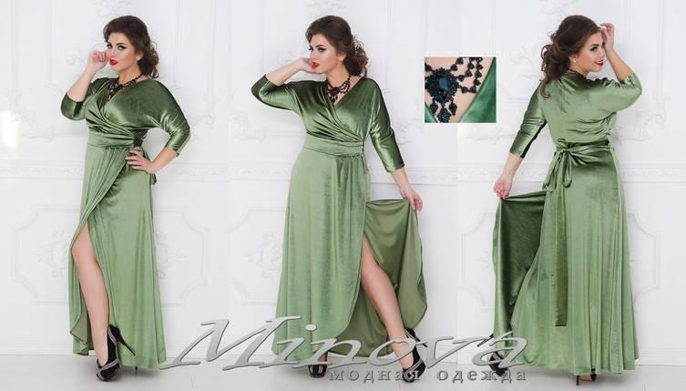 """Обворожительное женское платье на запах ткань """"Бархат"""" 50 размер батал, фото 2"""