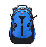 Вместительный рюкзак SwissGear Wenger, свисгир. Синий с черным. + Дождевик. / s7255 blue
