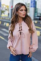 Женская блузка на завязках бежевая белая 42-44 46-48 50-52 54-56