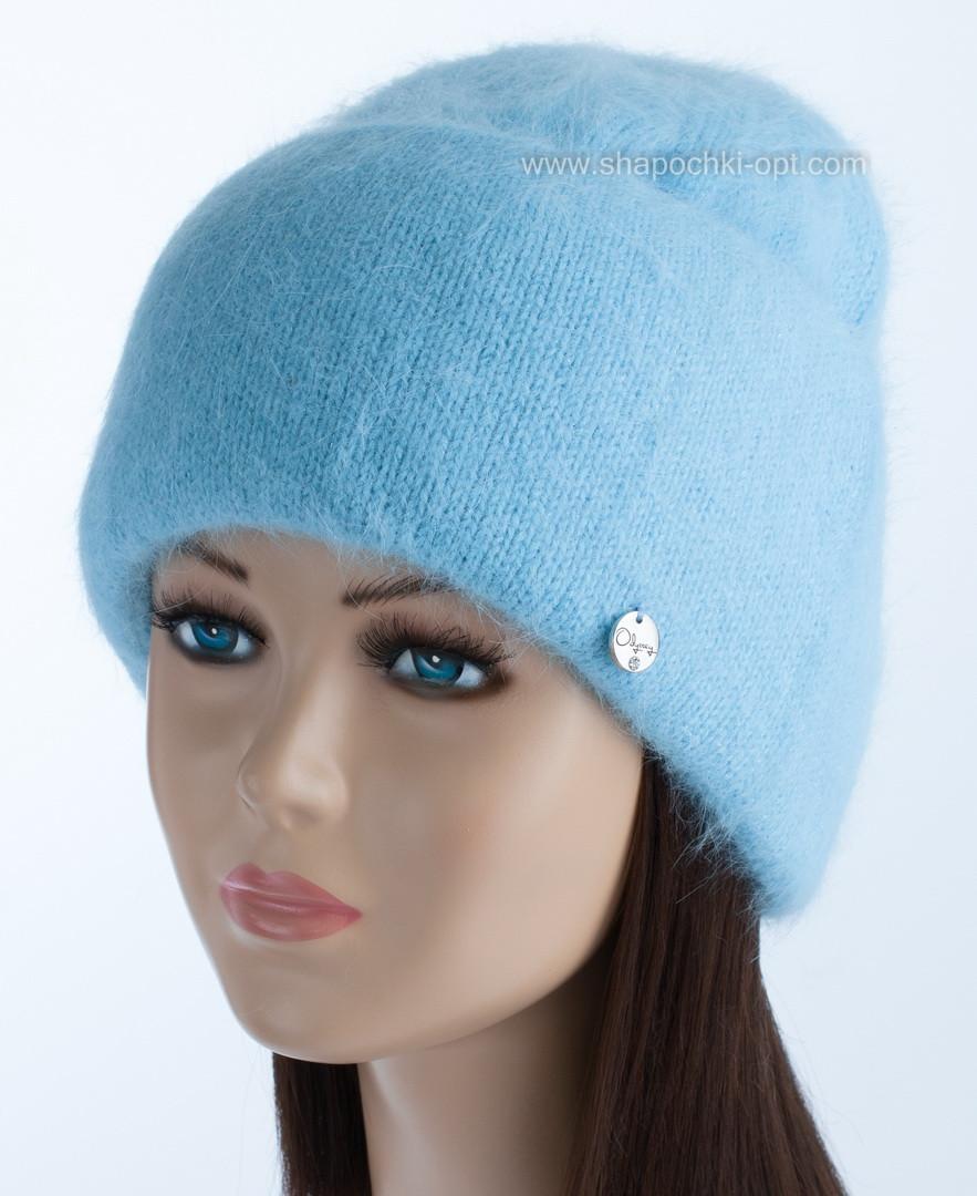 Теплая женская шапочка на флисе Vanila цвет небесный