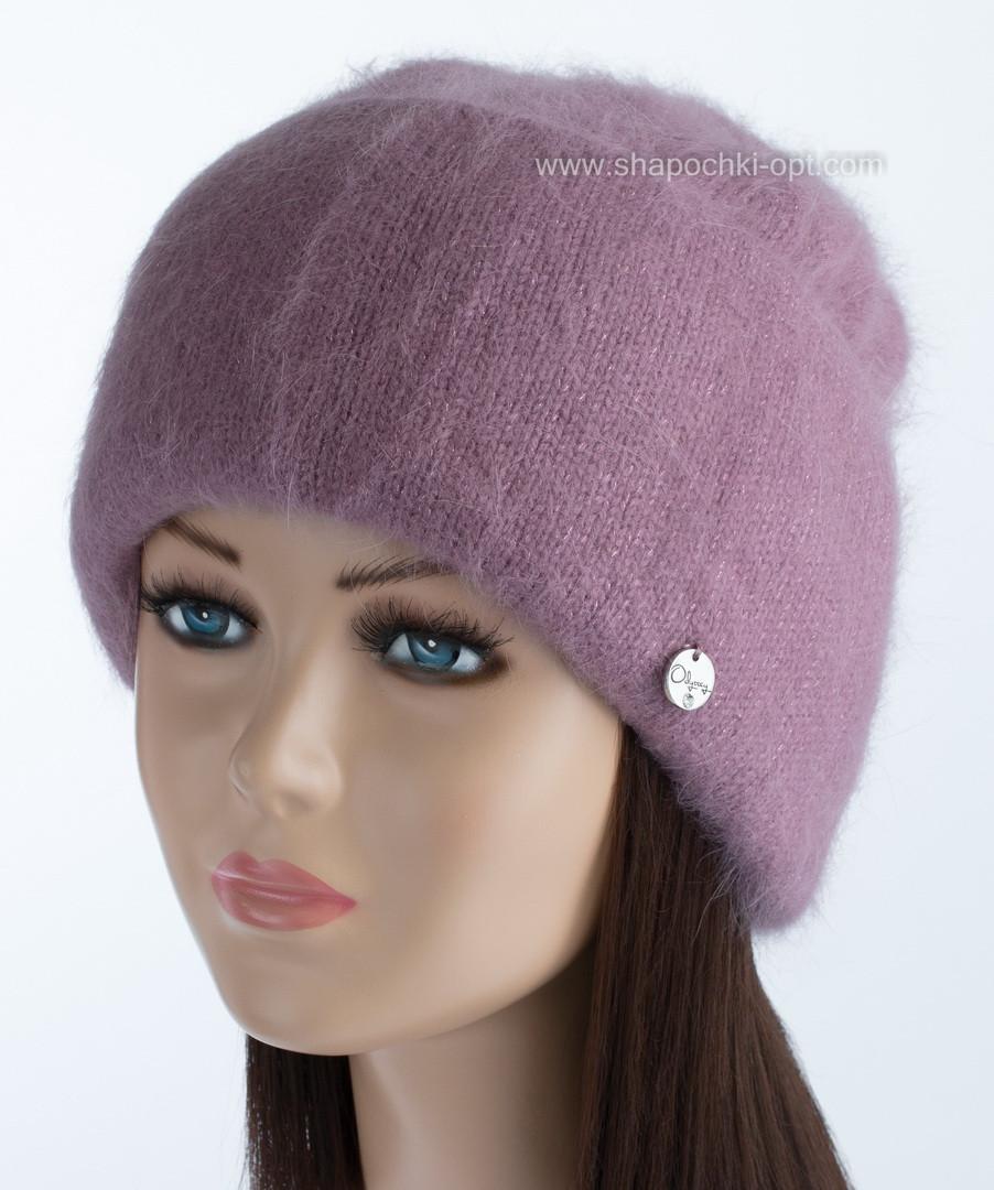 Вязаная женская шапочка Vanila цвет цикламен