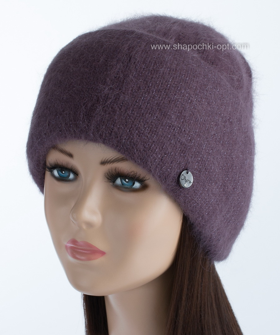 Теплая вязаная женская шапочка Vanila цвет пансе