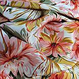 Мимолетное виденье 1407-1, павлопосадский шейный платок (крепдешин) шелковый с подрубкой, фото 5