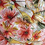 Мимолетное виденье 1407-1, павлопосадский шейный платок (крепдешин) шелковый с подрубкой, фото 6