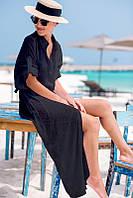 Пляжная длинная платье рубашка с шифона черного цвета