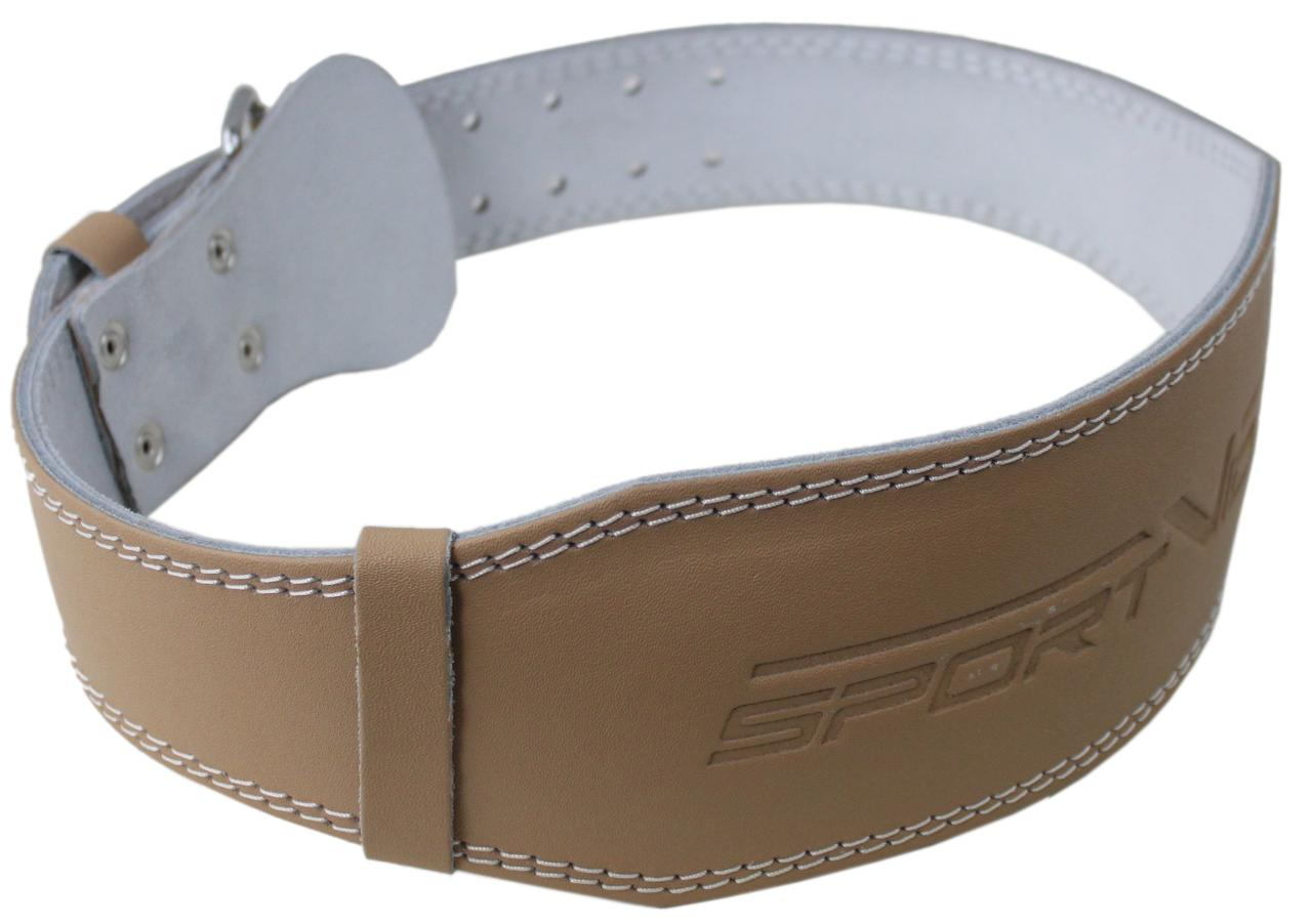 Пояс для тяжелой атлетики с экокожи SportVida SV-AG0070 (S) Beige