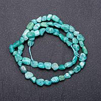 Бусины из натурального камня Амазонит зеленый галтовка, диаметр 5мм, длина 40см