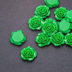 Кабошон Роза зеленая акрил, диаметр 18мм фас. шт.