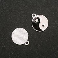 Фурнитура подвеска Инь Янь черно белая эмаль белый металл 16х19мм, диаметр in-2мм фас. 5шт.