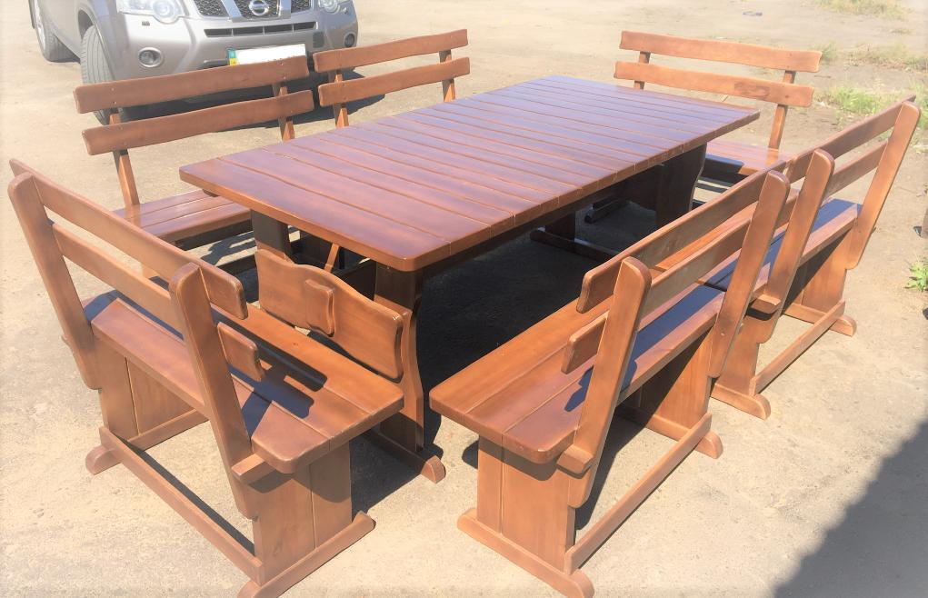 Деревянный стол из массива древесины 2000*1000 + 6 лавок