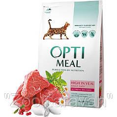 Сухой корм OptiMeal для взрослых котов с телятиной, 4 кг