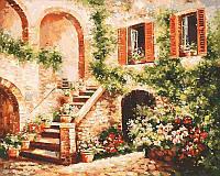 """Картина раскраска по номерам """"Цветущий дворик"""" Белоснежка 50х40 см"""