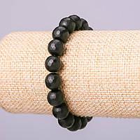 Браслет из натурального камня Шунгит граненный шарик, диаметр 10мм обхват 18см на резинке