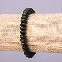 Браслет из натурального камня Шунгит приплюснутая бусина, диаметр 8х4,5мм обхват 18см на резинке