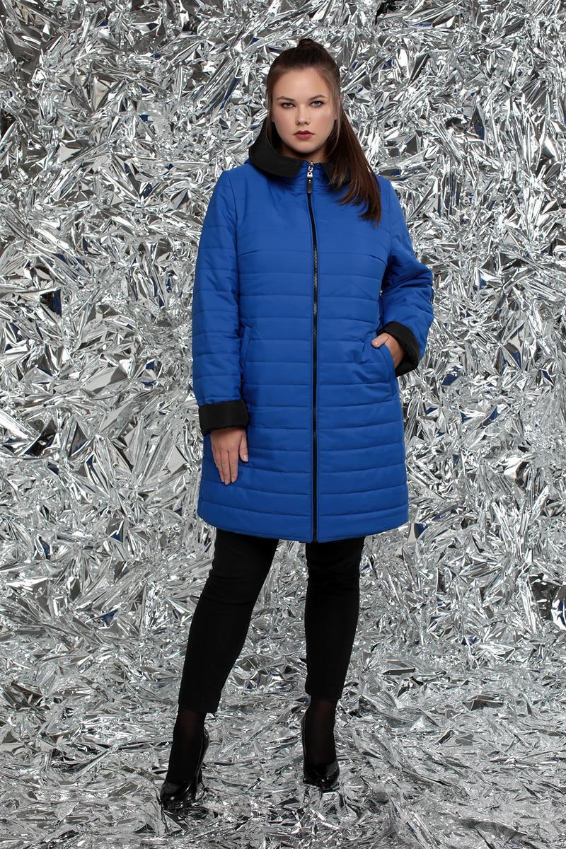 / Размеры 54,56,58,60,62 / Женская стеганная двухсторонняя куртка прямого силуэта / М-768 электрик
