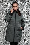 / Размеры 54,64 / Женская стеганная двухсторонняя куртка прямого силуэта / М-768 зеленый, фото 2