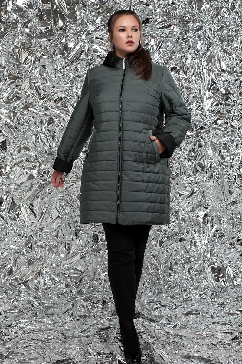 / Размеры 54,64 / Женская стеганная двухсторонняя куртка прямого силуэта / М-768 зеленый
