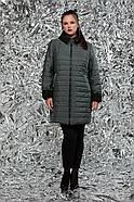 / Размеры 54,64 / Женская стеганная двухсторонняя куртка прямого силуэта / М-768 зеленый, фото 3