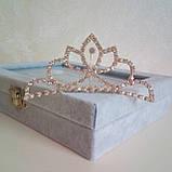 Детская корона с  камнями, золотистая диадема на гребешке, тиара для девочки, высота 4,5 см., фото 2
