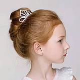 Детская корона с  камнями, золотистая диадема на гребешке, тиара для девочки, высота 4,5 см., фото 6