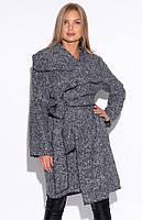 Женское пальто из букле серого цвета. Модель 22452, размеры 42-58