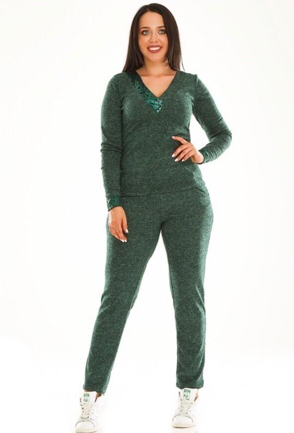 """Стильный женский спортивный костюм с кармашками и пайкетками з ткань: """"Ангора"""" 48, 50, 52, 54 размер батал"""