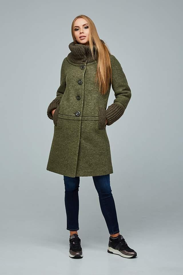 Пальто демісезонне шерстяне з довязом