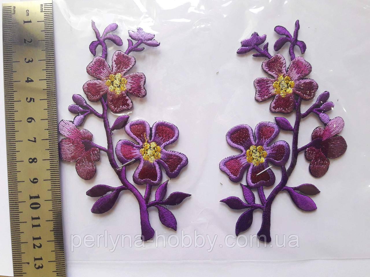 """Аплікація вишивка клейові парні """"Квіти!, 11-12 см, фіолетова з золотом, 1 пара"""