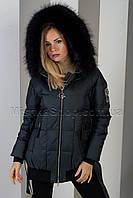 Шикарная зимняя куртка цвета чёрный изумруд с натуральным пышнейшим мехом енота Vo-Tarun Y020-823, фото 1