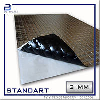 Виброизоляция Cтандарт 3 мм, 330х500 мм, фольга 50 мкм