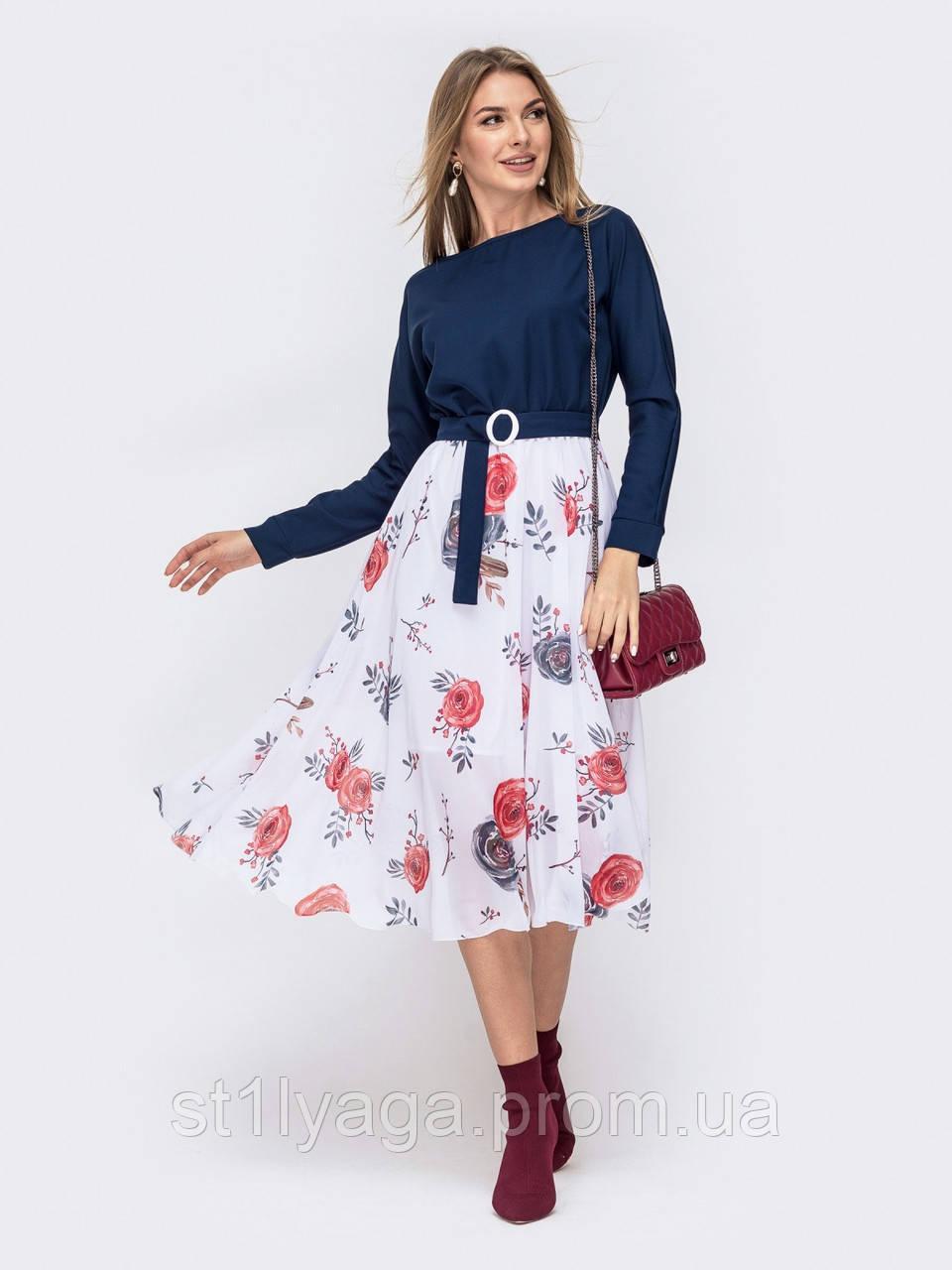 Повседневное комбинированное платье с длинным рукавом и расклешенной юбкой в цветочный принт