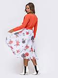 Повседневное комбинированное платье с длинным рукавом и расклешенной юбкой в цветочный принт, фото 10