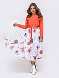 Повседневное комбинированное платье с длинным рукавом и расклешенной юбкой в цветочный принт, фото 8