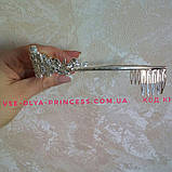 Діадема під золото з рожевим камінням, тіара, корона, висота 3 див., фото 5
