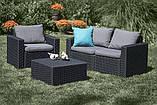 Набор садовой мебели California 2 Seater Set Graphite ( графит ) из искусственного ротанга (Allibert by Keter), фото 4