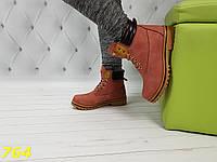 Ботинки тимбер розовые зима очень теплые, фото 1