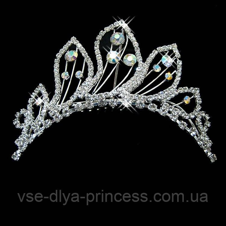 Детская корона, диадема на гребешке, тиара для девочки, высота 4,5 см.