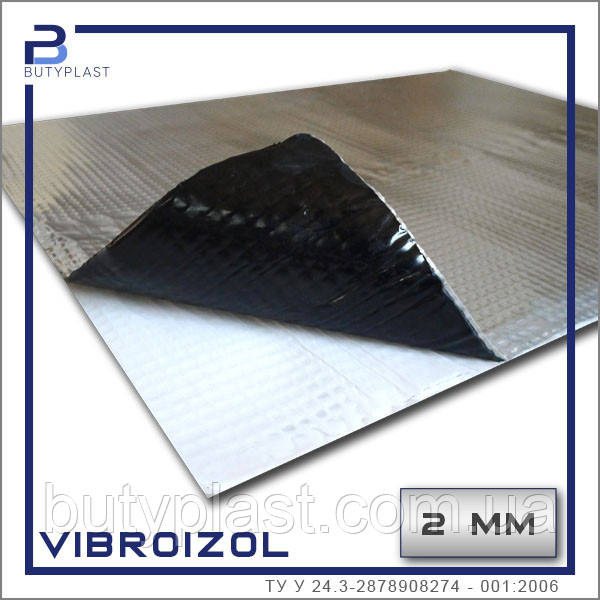 """Виброизоляция """"Vibroizol"""" ,  2 мм, 500х600мм, 100 мкм Украина"""