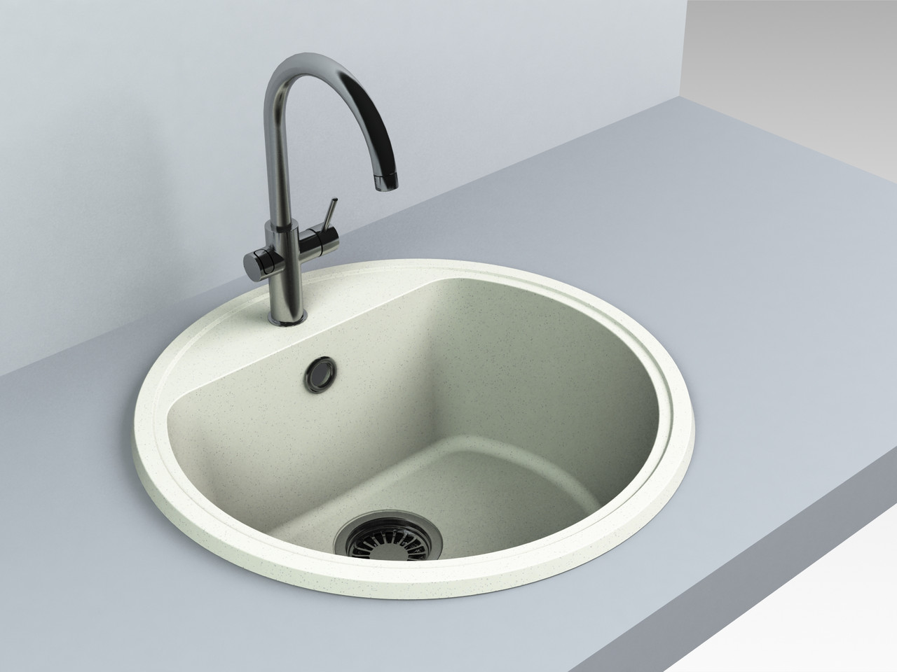 Кухонная мойка из искусственного камня 516*516*220 мм Miraggio MALIBU (жасмин)
