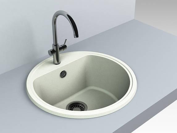 Кухонная мойка из искусственного камня 516*516*220 мм Miraggio MALIBU (жасмин), фото 2