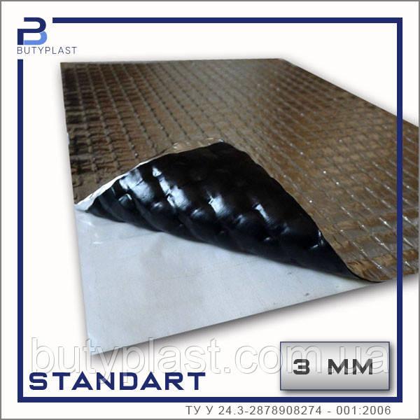 Виброизоляция Cтандарт 3 мм, 500х600 мм, фольга 50 мкм   Standart