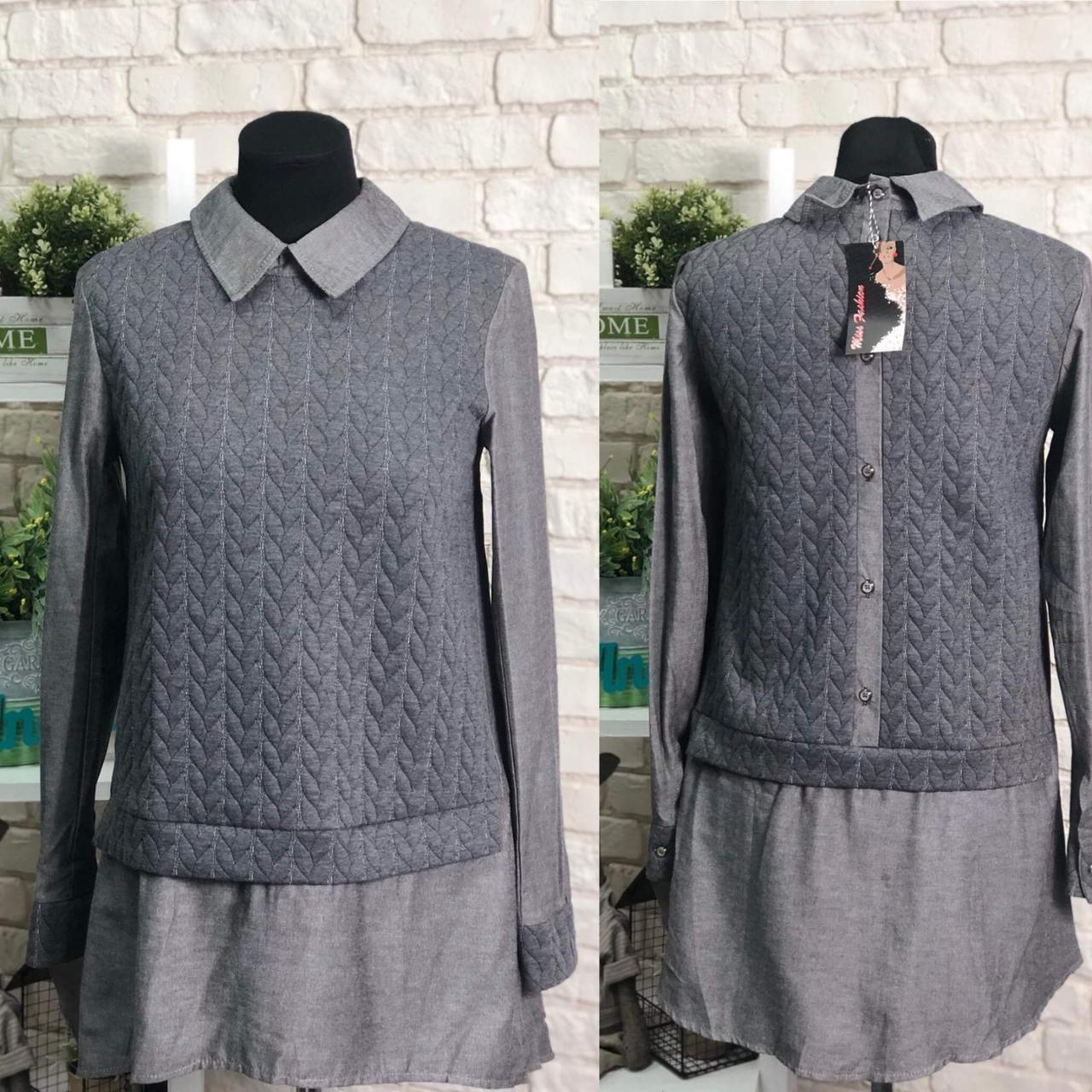 """Красивая женская удлиненная рубашка """"Трикотаж+Коттон"""" 42, 44, 46 размер батал"""